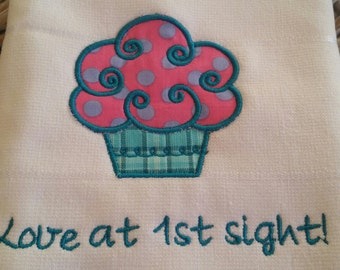 Tea Towel-Kitchen Towel-Pink Polka-Dot Cupcake Applique Towel