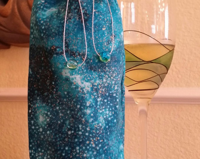 Wine Bag-Gourmet-Glitter Collection (Turquoise Galaxy)