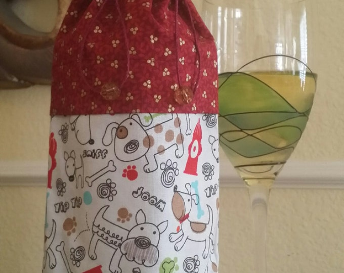 Wine Bag-Deluxe-Pooch Collection (Fire Hydrant n' Gold Berries)