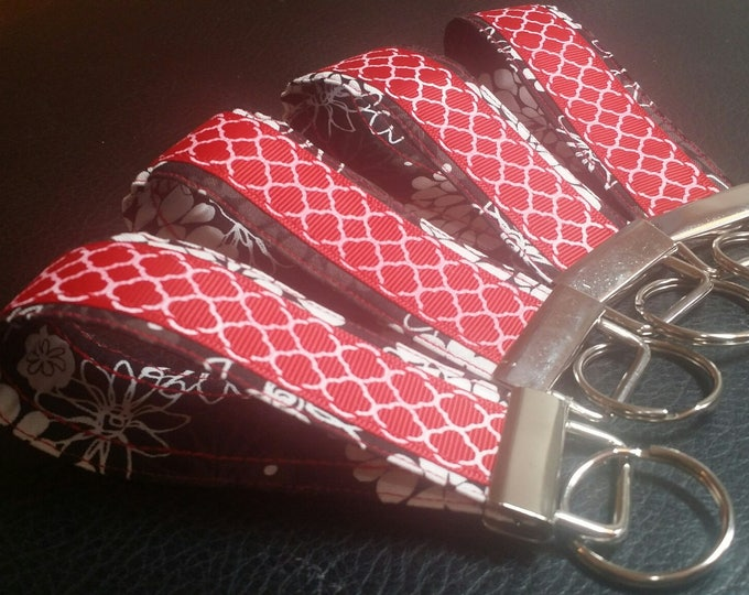 Key Chains-Key Rings-Key Red Quatrefoil Ribbon n' Black Fabric