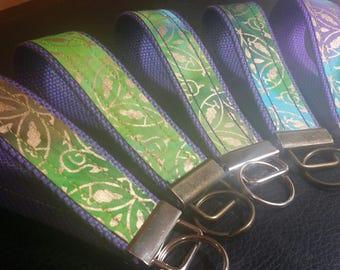 Key Chains-Key Rings-Key Fobs-Gold n' Batik n' Purple Webbing