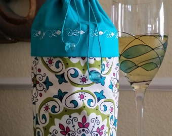 Wine Bag-Deluxe-Whimsical Collection (Turquoise)