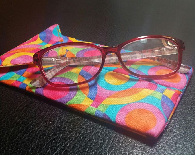 EYE GLASS CASES-Artsy Rainbow Circles  (Phone & glasses not included)