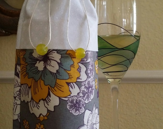 Wine Bag-Deluxe-Flower Power Collection (Yellow n' White n' Gray)