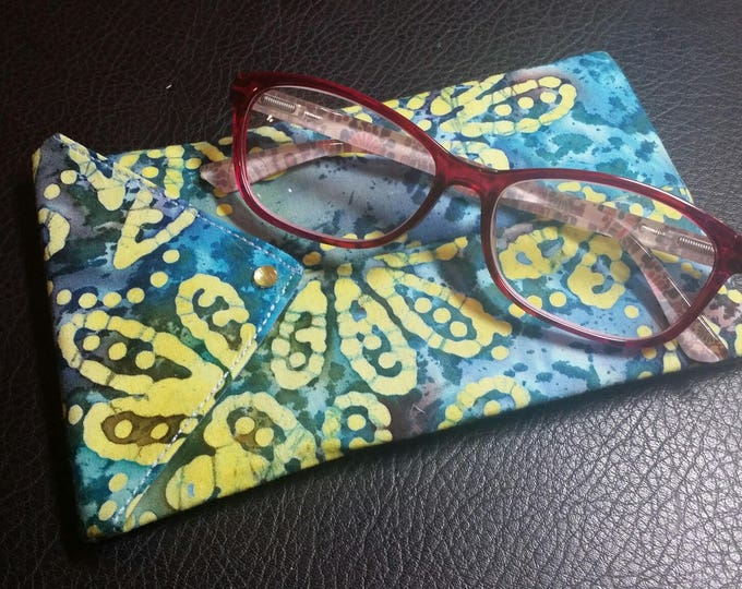 EYE GLASS CASES-Blue n' Yellow Floral Batik (Phone & glasses not included)
