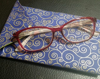 EYE GLASS CASES-Purple n' Gold Swirls (Phone & glasses not included)