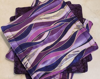 Fabric Rug Mugs/Coasters-Assorted Purple Waves with Gold Accents