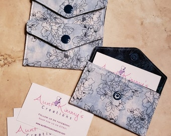 Business Card Holder-Watercolor Baby Blue Floral