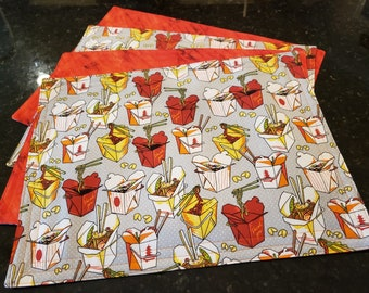 Fabric Placemats/Washable/Reversible-Chinese Food Take Out n' Burnt Orange Sunset