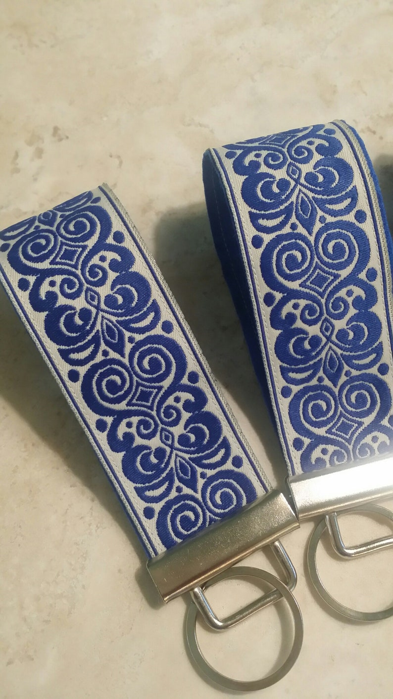 Key Chains-Key Rings-Key Fobs-Royal Blue n' Cream Damask image 0