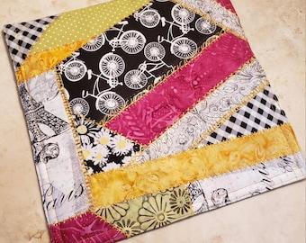 Crazy Patch Quilt Fabric Hot Pad/Trivet-Paris n' Bicycles