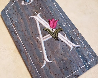 Personalized Blue n' Silver Fleck Colored Cork Luggage Tag/Travel Tag-Floral Assorted Colors Initial