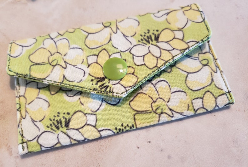 Business Card Holder-Yellow Floral n' Green with White image 0