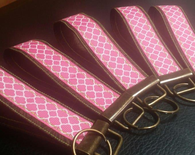 Key Chains-Key Rings-Key Pink Quatrefoil Ribbon n' Brown Fabric