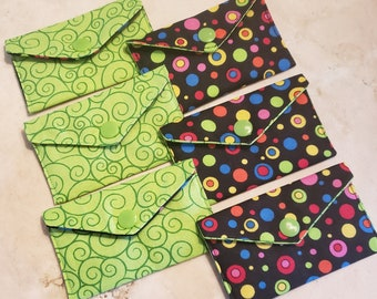 Business Card Holder-Rainbow Bubbles n' Lime Green Swirls
