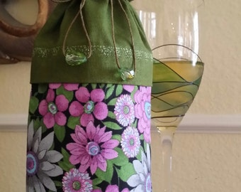 Wine Bag-Deluxe-Flower Power Collection (Olive n' Magenta)