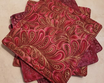 Fabric Rug Mugs/Coasters-Pink n' Rouge n' Gold Accent Paisley