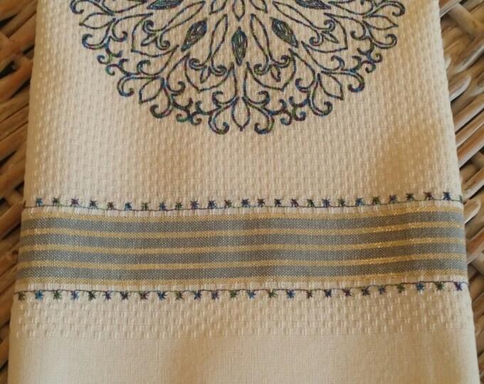 Tea Towel-Kitchen Towel-Kaleidoscope with Variegated Thread