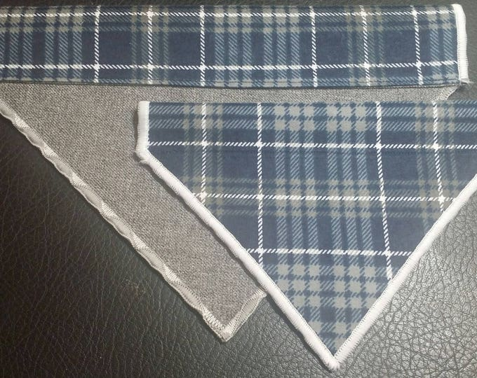 PET BANDANAS-Dog n' Cat-Blue Plaid n' Gray