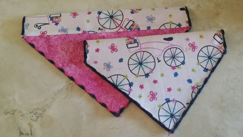 Dog Bandana n' Cat Bandana-Springtime Pink Bicycle image 0