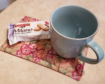 Fabric Snack Mat/Mug Rug/Coffee Coaster-Fuchsia Flowers n Batik