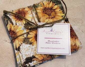 Fabric Rug Mugs/Coasters-Warm Yellow Sunflowers n' Black n' White Cheque