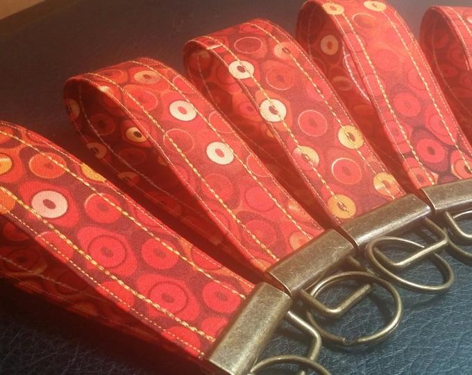 Key Chains-Key Rings-Key Fobs-Orange Hodge Podge Fabric