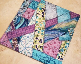 Crazy Patch Quilt Fabric Hot Pad/Trivet-Wild Flowers n' Ocean waves