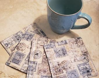 Fabric Rug Mugs/Coasters-Antique Blue n' Beige Postal Stamps