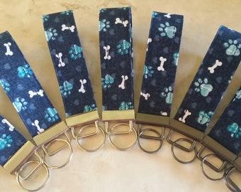 Key Chains-Key Rings-Key Fobs-Blue Pooch Paws n' Bones