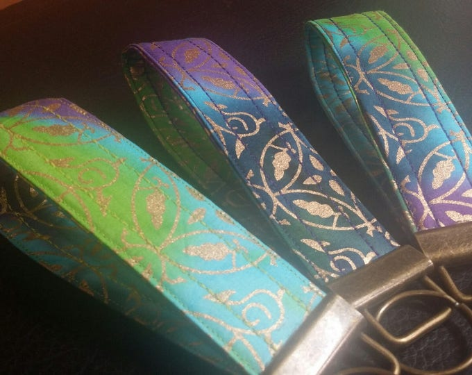 Key Chains-Key Rings-Key Fobs-Gold Design on Batik Fabric