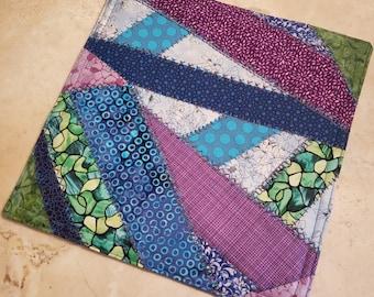 Crazy Patch Quilt Fabric Hot Pad/Trivet-Zig Zag n' Polka Dots