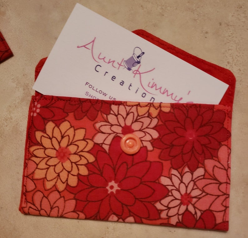 Business Card Holder-Orange n' Red Floral image 0