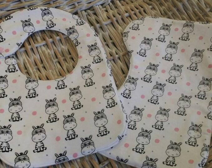 Baby Bib-Baby Zebra Bib & Burp Pad Set!