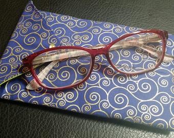 EYE GLASS CASES-Purple n' Gold Swirls (Phone & glasses not included)
