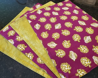 Fabric Placemats/Washable/Reversible-Artichokes on Purple/Fuchsia n' Olive Green Paint Stroke