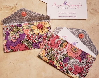 Business Card Holder-Colorful Bouquet n' Gray Roses