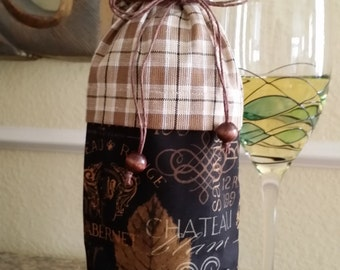 Wine Bag-Deluxe-Vintage Collection (Midnight Brown Plaid)