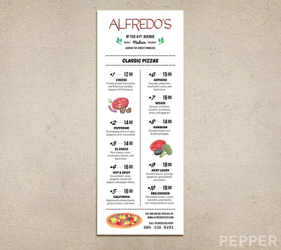 graphic about Printable Pizza Toppings named Customized Cafe Menu - Refreshing Pizza Menu, Printable PDF Template, Watercolor Pizza Toppings, 50 % Sheet Vertical, Progressive 2 Column