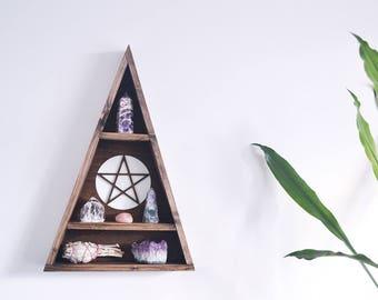 Triangle Shelf, Crystal shelf, Geometric Shelf - Pentagram