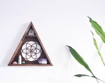 Triangle Shelf, Geometric Shelf, Crystal Shelf- Seed Of Life