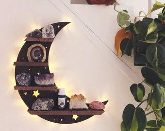 Moon Shelf, Crescent moon shelf, moon phase shelf, crystal simply shelf, geometric shelf, Crystal Shelf