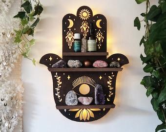 Hamsa Hand Shelf, Hamsa Hand Lamp,  Hand of Fatima,  wooden crystal shelf, Hamsa Wall Art