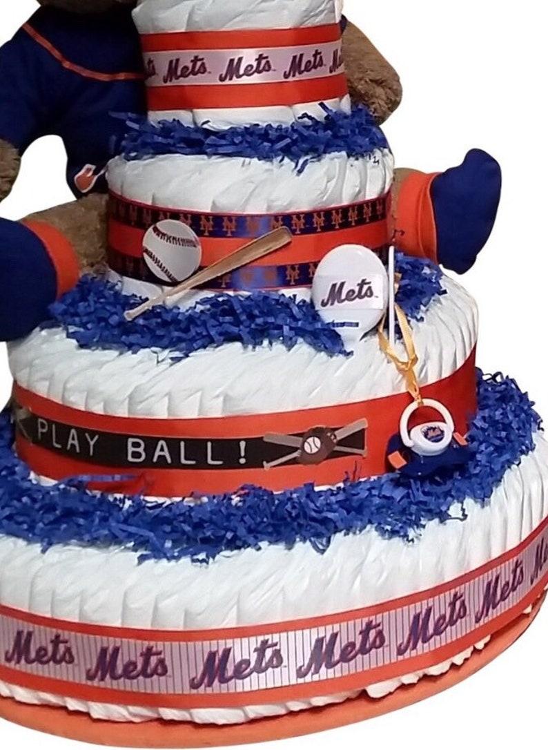 Mets Diaper Cake Boys Four Tier Newborn Baby Shower