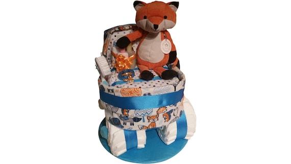 Woodland Animals Baby Diaper Cake Shower Gift Centerpiece Fox Neutral