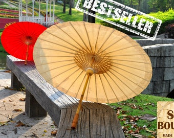 Thai / Japan Traditional Bamboo Umbrella. Waterproof cotton. White (Ivory) color. Wedding Parasol