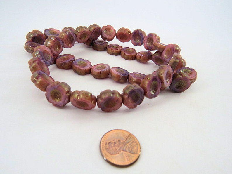 Czech Pink and Purple Mix Beads 14MM Hawaii Flowers with Sheen Picasso Glaze Streaked Opaque Table Cut Glass 6 Beads PTCHA071