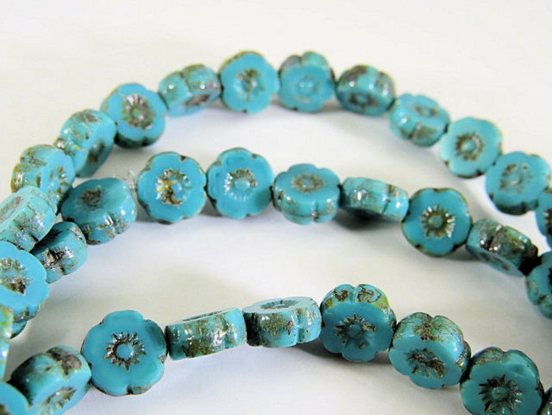 Czech 8mm Turquoise Blue Hawaii Flower Beads Picasso Glaze Opaque Table Cut Glass Coin 10 Beads CTC057