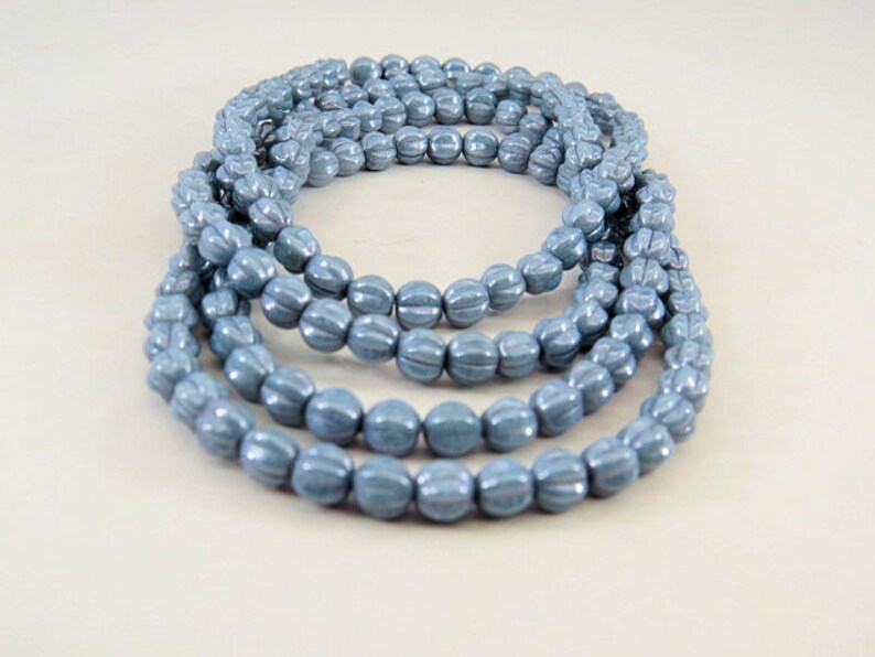 Czech Blue Melon Beads 6MM Round Lined Opaque Small Faded Denim Pressed Glass  40 Beads PRE6MEL001