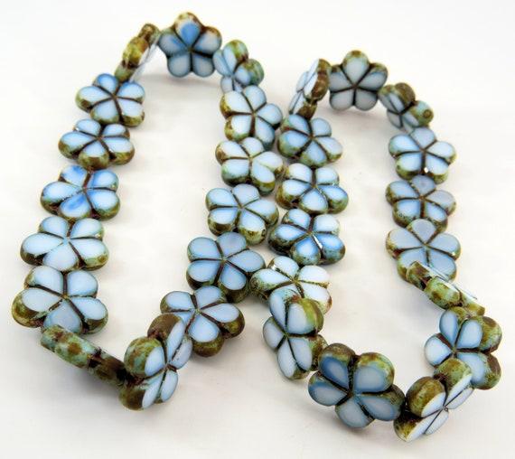 10 beads Aqua// Green// White Picasso Czech Glass Flower Beads 14mm